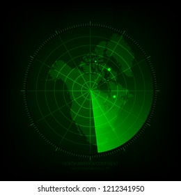 Vector - Map scan green color of NORTH AMERICA CONTINENT,Vector illustration eps 10.