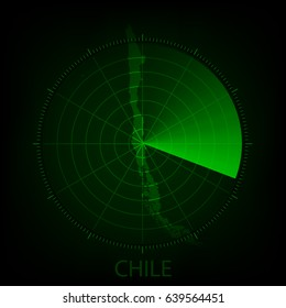 Vector - Map scan green color of Chile,Vector illustration eps 10.