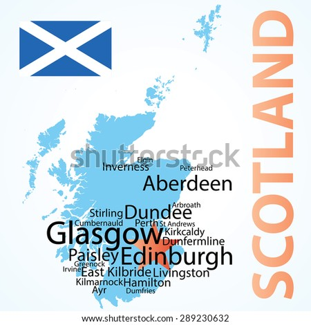 Vector Map Scotland Largest Cities Carefully Stock Vector Royalty