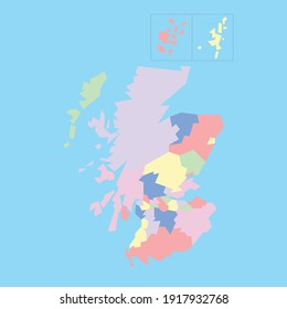 Vector map of Scotland's councils to study