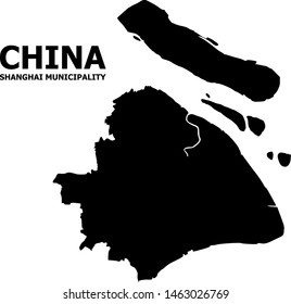 Vector Map of Shanghai Municipality with caption. Map of Shanghai Municipality is isolated on a white background. Simple flat geographic map.