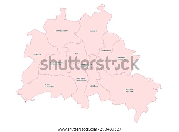 Vector Map Showing Districts Berlin Stock Vector (Royalty ...