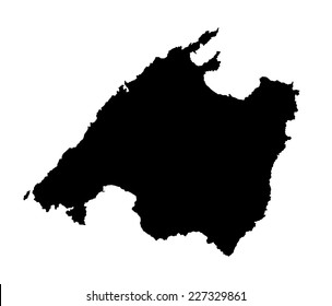 Vector map silhouette of Mallorca, high detailed black silhouette illustration isolated on white background. Majorca map silhouette, Spain island, Europe. Mallorca map silhouette.