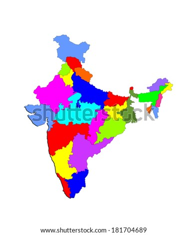 Vector Map Silhouette Republic India States Stock Vector (Royalty ...