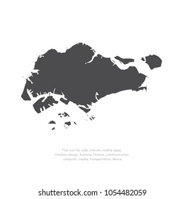 Vector map Singapore. Isolated vector Illustration. Black on White background. EPS 10 Illustration.