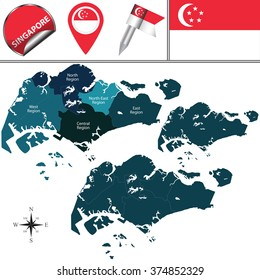 Vector map of Singapore with named regions and travel icons