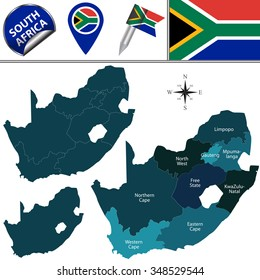 Vector map of South Africa with named provinces and travel icons