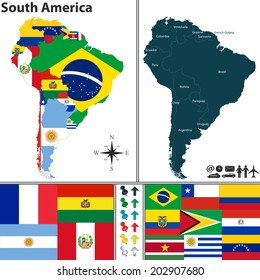 Vector map of South America with flags and location on world map
