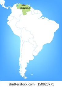 Vector Map of South America Highlighting the Country of Venezuela