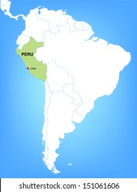 Vector Map of South America Highlighting the Country of Peru; Illustrator 8