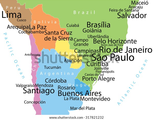 Cities Of America Map.Vector Map South America Largest Cities Stock Vector Royalty Free
