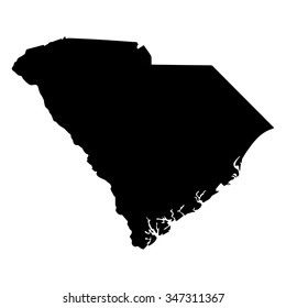 Vector map South Carolina. Isolated vector Illustration. Black on White background. EPS Illustration.