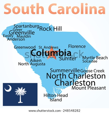 Vector Map South Carolina Largest Cities Stock Vector (Royalty Free ...