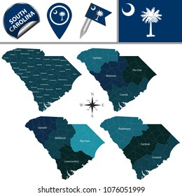 Vector map of South Carolina with named regions and travel icons