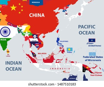 vector map of south east asian countries mixed with their national flags