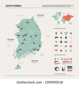 Vector map of South Korea. High detailed country map with division, cities and capital Seoul. Political map,  world map, infographic elements.