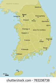 vector map of South Korea with important cities and roads country Pyeongchang geography cartography