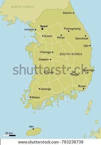 Vector Map South Korea Important Cities Stock Vector Royalty Free
