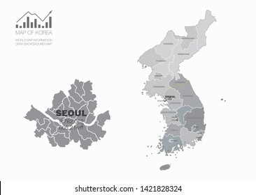 vector map of South Korea map and North Korea . seoul map.