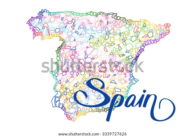 Vector Map Spain Multicolored Tiles Background Stock Vector