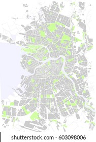 Vector map St. Petersburg black and white