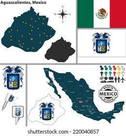 Vector map of state Aguascalientes with coat of arms and location on Mexico map