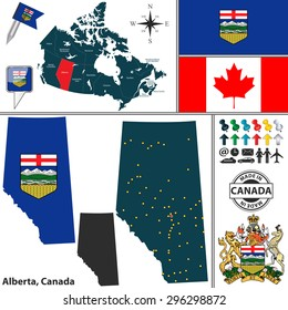 Vector map of state Alberta with coat of arms and location on Canadian map