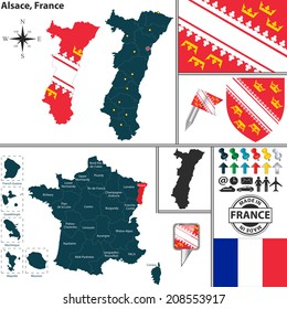 Vector map of state Alsace with coat of arms and location on France map