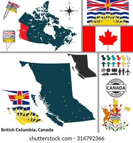 Vector map of state British Columbia with coat of arms and location on Canadian map