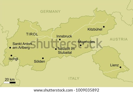 Tirol Italy Map.Vector Map State Canton Tirol Austria Stock Vector Royalty Free