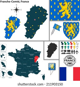 Vector map of state Franche-Comte with coat of arms and location on France map