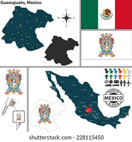 Vector map of state Guanajuato with coat of arms and location on Mexico map
