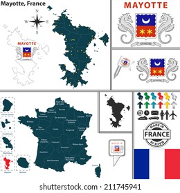 Vector map of state Mayotte with coat of arms and location on France map
