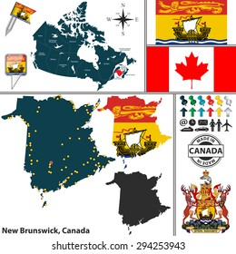 Vector map of state New Brunswick with coat of arms and location on Canadian map