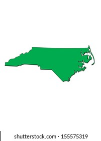 Vector Map of the State of North Carolina; Illustrator 8