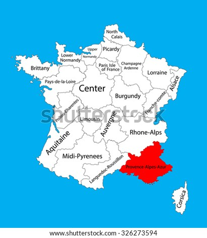 Vector Map State Provence Alpes Cote D Azur France Stock Vector ...