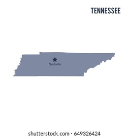 Vector map State of Tennessee isolated on white background. Travel Vector Illustration.