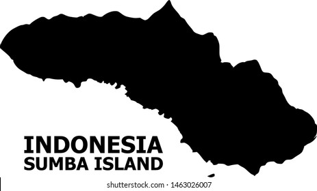 Vector Map of Sumba Island with caption. Map of Sumba Island is isolated on a white background. Simple flat geographic map.