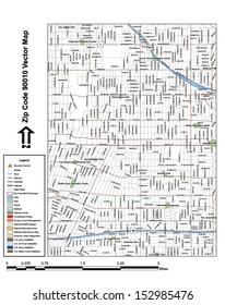 90010 Zip Code Map.Angeles Map Los Angeles Stock Illustrations Images Vectors