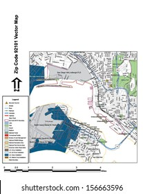 Vector map with summits, rivers, railroads, streets, lakes, parks, airports, stadiums, correctional facilities, military installations and federal lands by zip code 92101 with labels and clean layers.