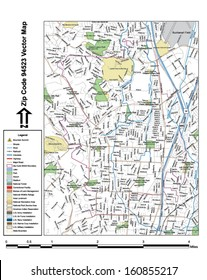 Vector map with summits, rivers, railroads, streets, lakes, parks, airports, stadiums, correctional facilities, military installations and federal lands by zip code 94523 with labels and clean layers.