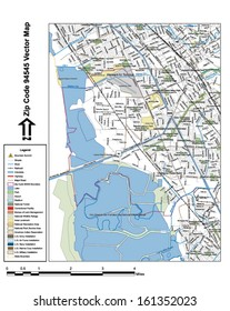 Vector map with summits, rivers, railroads, streets, lakes, parks, airports, stadiums, correctional facilities, military installations and federal lands by zip code 94545 with labels and clean layers.