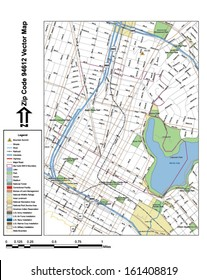 Vector map with summits, rivers, railroads, streets, lakes, parks, airports, stadiums, correctional facilities, military installations and federal lands by zip code 94612 with labels and clean layers.