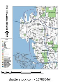 Vector map with summits, rivers, railroads, streets, lakes, parks, airports, stadiums, correctional facilities, military installations and federal lands by zip code 98004 with labels and clean layers.