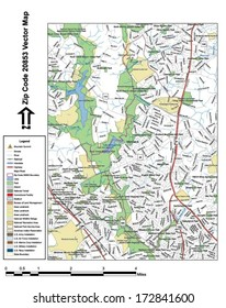 Vector map with summits, rivers, railroads, streets, lakes, parks, airports, stadiums, correctional facilities, military installations and federal lands by zip code 20853 with labels and clean layers.