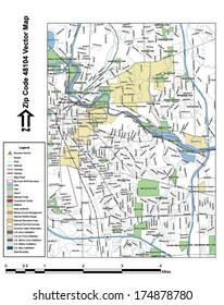 Vector map with summits, rivers, railroads, streets, lakes, parks, airports, stadiums, correctional facilities, military installations and federal lands by zip code 48104 with labels and clean layers.