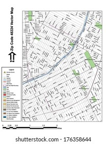 Vector map with summits, rivers, railroads, streets, lakes, parks, airports, stadiums, correctional facilities, military installations and federal lands by zip code 48224 with labels and clean layers.