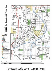 Vector map with summits, rivers, railroads, streets, lakes, parks, airports, stadiums, correctional facilities, military installations and federal lands by zip code 30303 with labels and clean layers.