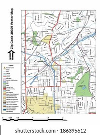 Vector map with summits, rivers, railroads, streets, lakes, parks, airports, stadiums, correctional facilities, military installations and federal lands by zip code 30309 with labels and clean layers.