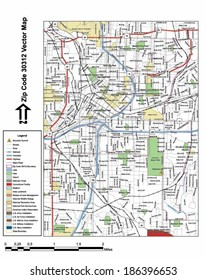 Vector map with summits, rivers, railroads, streets, lakes, parks, airports, stadiums, correctional facilities, military installations and federal lands by zip code 30312 with labels and clean layers.